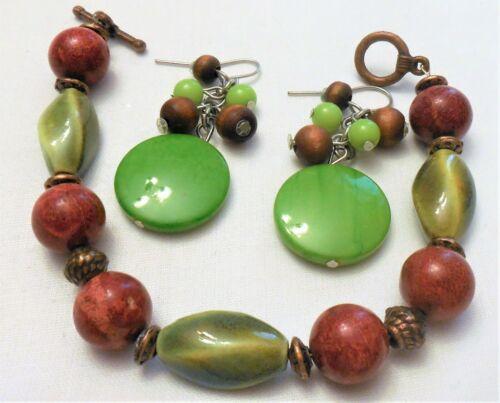 Fall Colored Glass & Metal Bead Bracelet & Green Abalonr & Wood Pierced Earrings