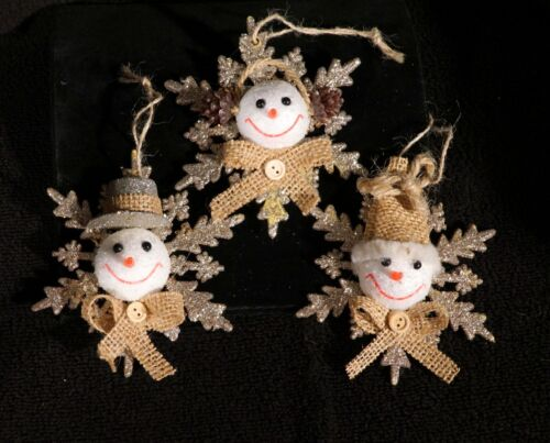 Adorable Set Of Three Glittered Snowman Snowflake Christmas Ornaments
