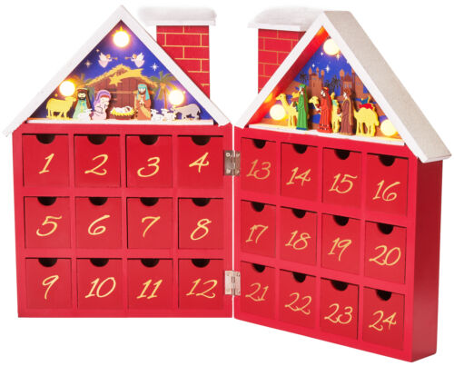 BRUBAKER Reusable Wooden Advent Calendar to Fill - Red Christmas House - LED