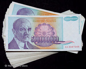 Yugoslavia - *LOT - 100 pcs* - P 134 - 500 Million Dinara 1993 - HYPERINFLATION