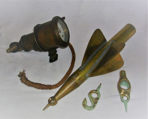Antique Maritime Nautical Brass Ships Log with Brass Spinner & Attachments