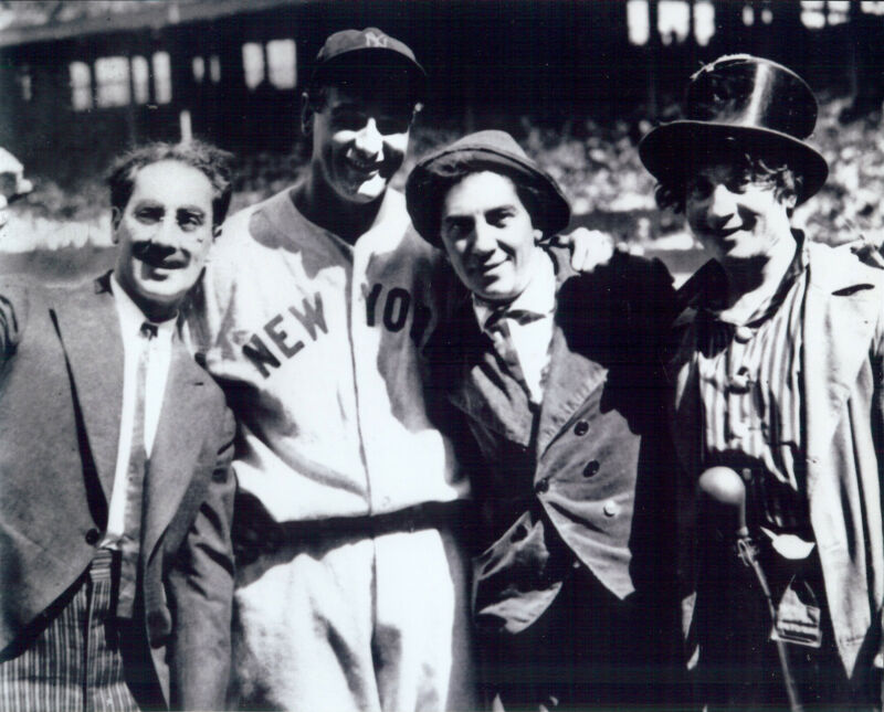 NY Yankees Lou Gehrig 8x10 B/W  photo with the Marx Brothers Harpo Groucho