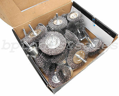 40pc Wire Wheel Brush Cup Assortment Crimped Steel 14 Shank Drills Rust Scale