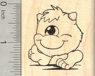 Halloween Monster Rubber Stamp, One-Eyed Fuzz Ball G25801 - Halloween Monster Ball