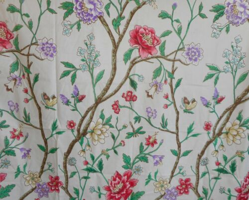 Vintage Tree of Life Butterfly Dragonfly Floral Cotton Fabric ~ Pink Green Blue
