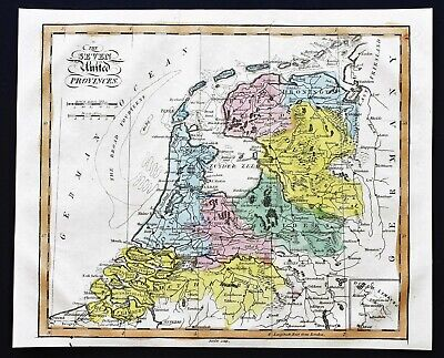 1815 Seven United Provinces Map Netherlands Amsterdam Groningen RARE ORIGINAL
