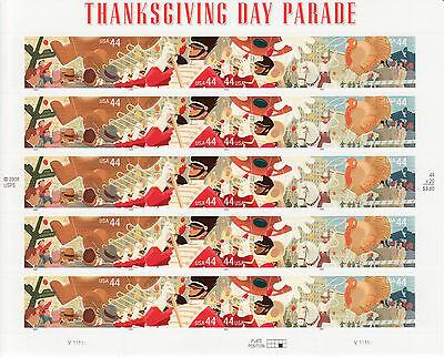 THANKSGIVING DAY PARADE STAMP SHEET -- USA #4417-4420 44 CENT 2009 THANKSGIVING