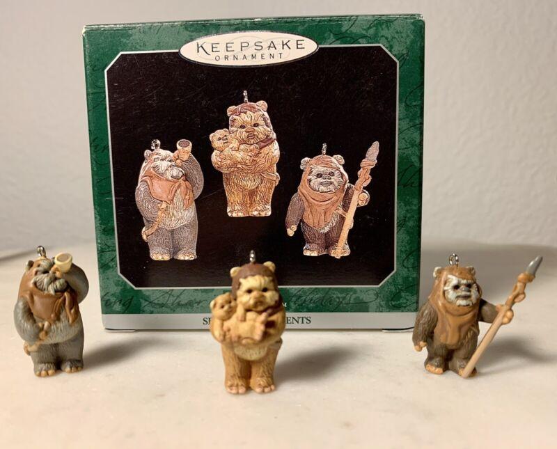 "Hallmark Keepsake Ornaments Star Wars Ewoks 1998 Miniatures Set of 3. 1"" Tall"