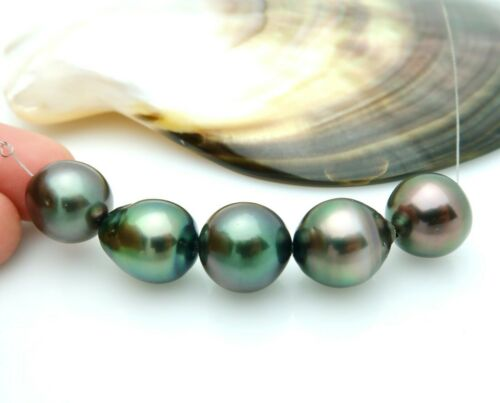5pc METALLIC WICKED PEACOCK AA+ TAHITIAN BLACK CULTURED PEARLS 13.69grams