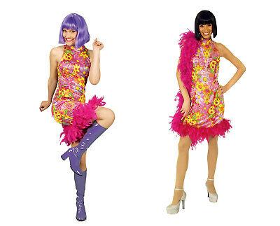 Damen Mädchen HIPPIE Kleid Kostüm 60er 70er Jahre Retro Flower Power Hippi - 70er Jahre Hippie Mädchen Kostüm