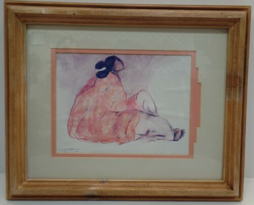 RC Gorman Woman Sitting Measures 16 X 13 Signed Dated 1977 Pre Owned