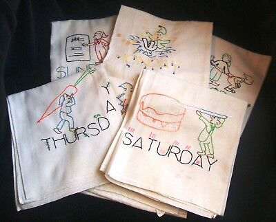 Vintage 6 Days of the Week Embroidered Elves Kitchen Dish Towels 33 by 21 Inches