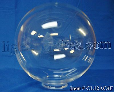 "12"" Acrylic Clear Plastic Round Globe Lamp Light Fixture Outdoor Lighting Post"