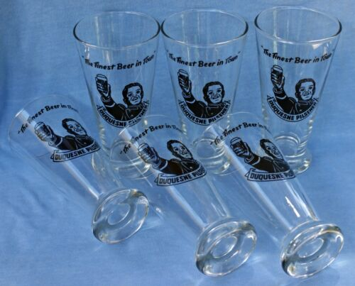 "Duquesne Pilsener ""The Finest Beer in Town"" Glasses  Set of 6"