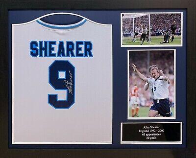 5d2ac11955b FRAMED ALAN SHEARER ENGLAND EURO 96 FOOTBALL SHIRT SIGNED WITH COA PROOF