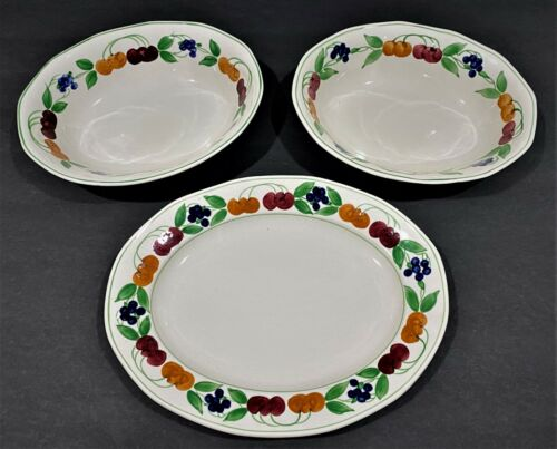 Royal Tudor Ware Two Serving Bowls & Platter Cherries and Blueberries