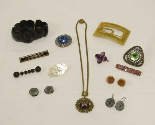 ANTIQUE VTG JEWELRY LOT MOURNING PINS SASH PIN CUFF LINKS PENDANT PINS 13 Pcs
