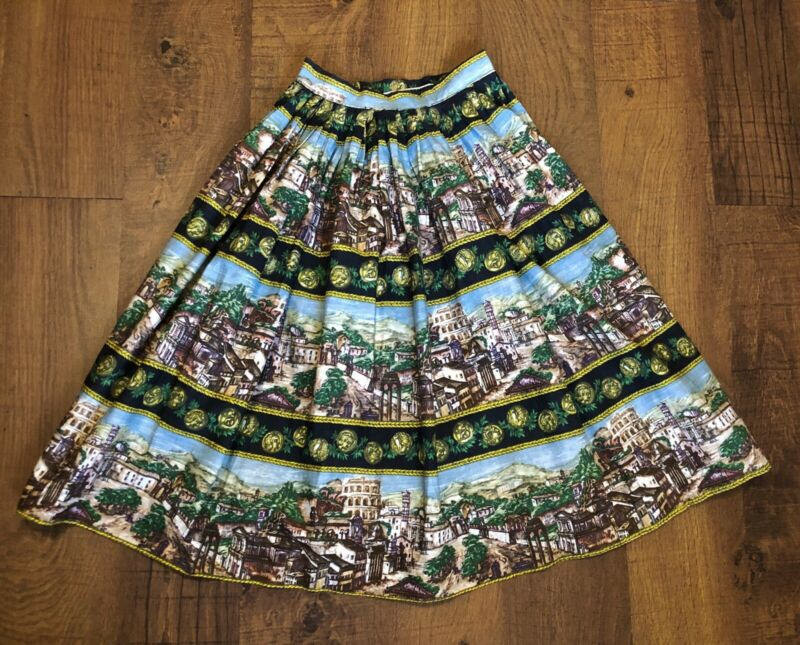 Vintage 1950s 1960s Roman Scenic Novelty Border Stripe Print Skirt