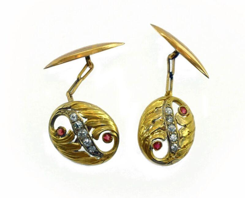 Antique 1890s Art Nouveau Diamond Ruby18k Gold Cufflinks Gorgeous Design