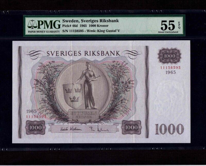 Sweden 1000 Kronor 1965 P-46d * PMG AU 55 EPQ * Rare Year * Rare Condition *