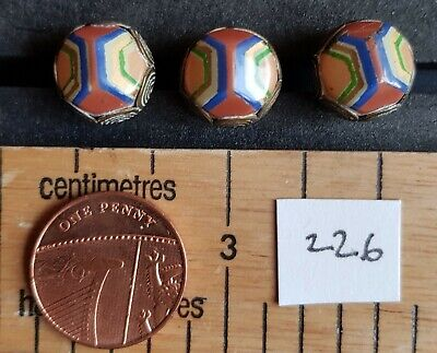 3 vintage metal and coloured material blouse buttons