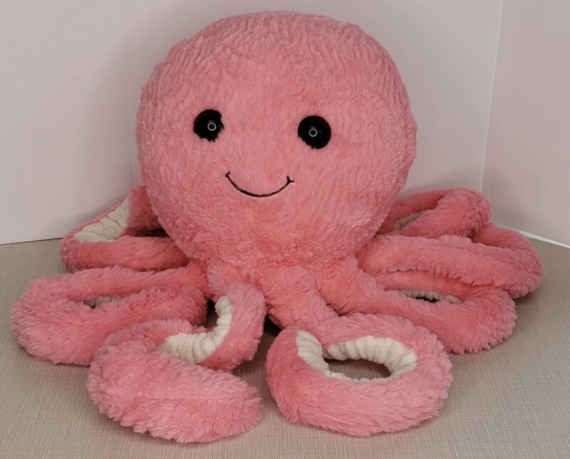 "Pink Octopus Stuffed Plush Large Approx 18"" Super Fluffy Valentines"