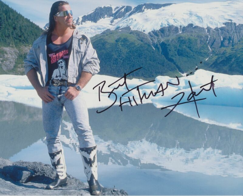 BRET THE HITMAN HART SIGNED WWE WWF 8X10 PHOTO 19