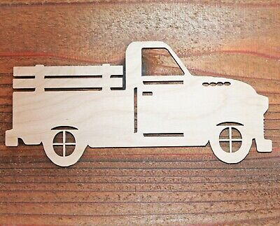 Vintage Pickup Truck Unfinished Wood Laser Cutout Cut Out Shapes Crafts DIY Sign - Unfinished Wood Signs