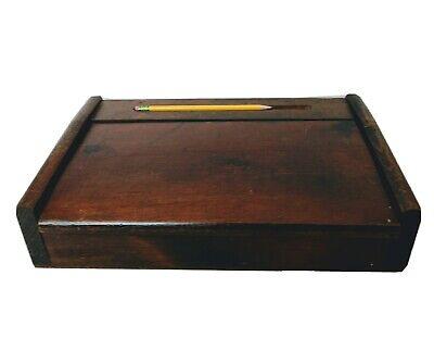 Vintage Writing Lap Desk Wooden Sloped Hinge-lid Pencil Holder Dark Finish Old