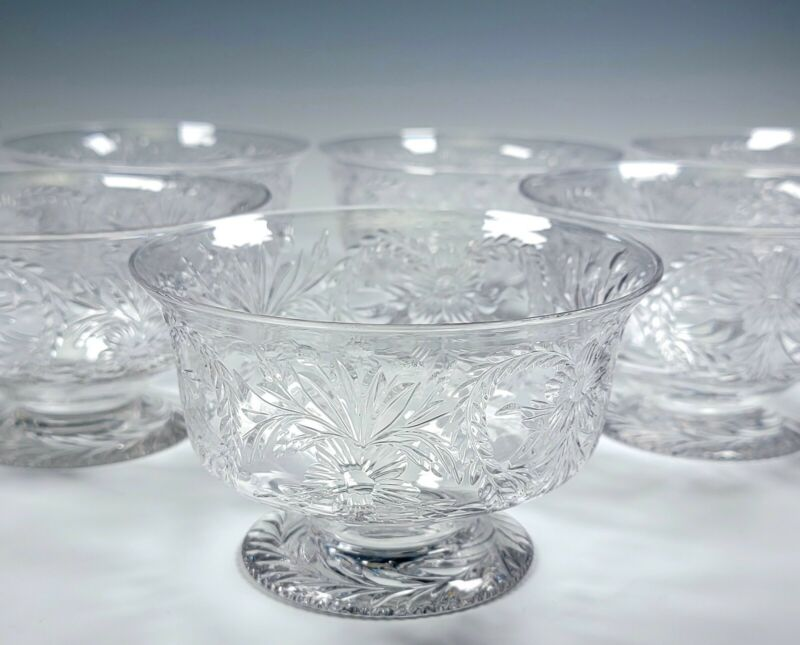 Pairpoint Set of 10 Incredible Cut Glass Footed Dessert Bowls