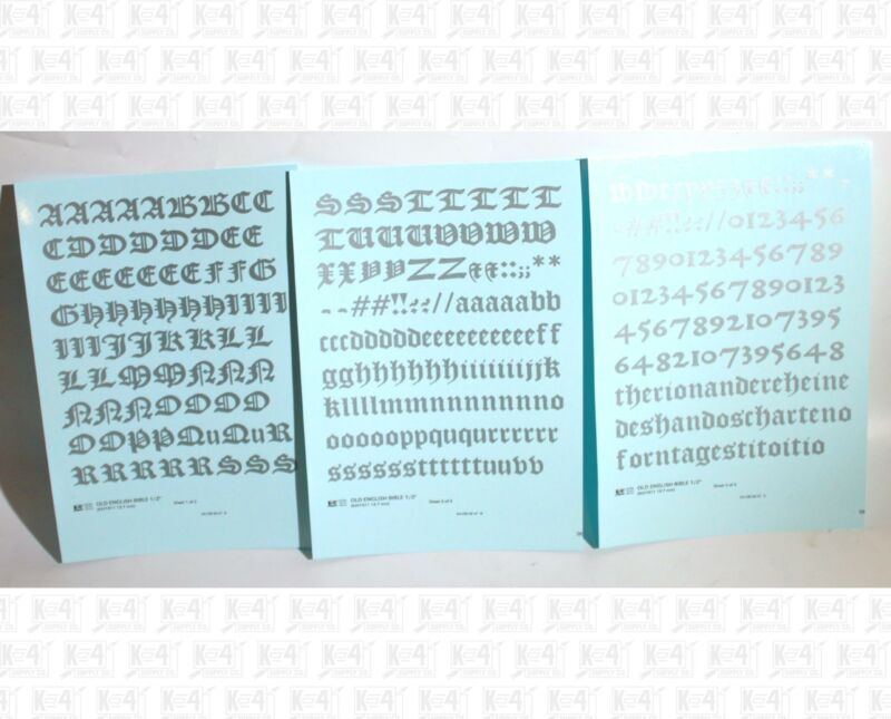 K4 G Decals Silver 1/2 Inch Old English Bible Letter Number Alphabet Set