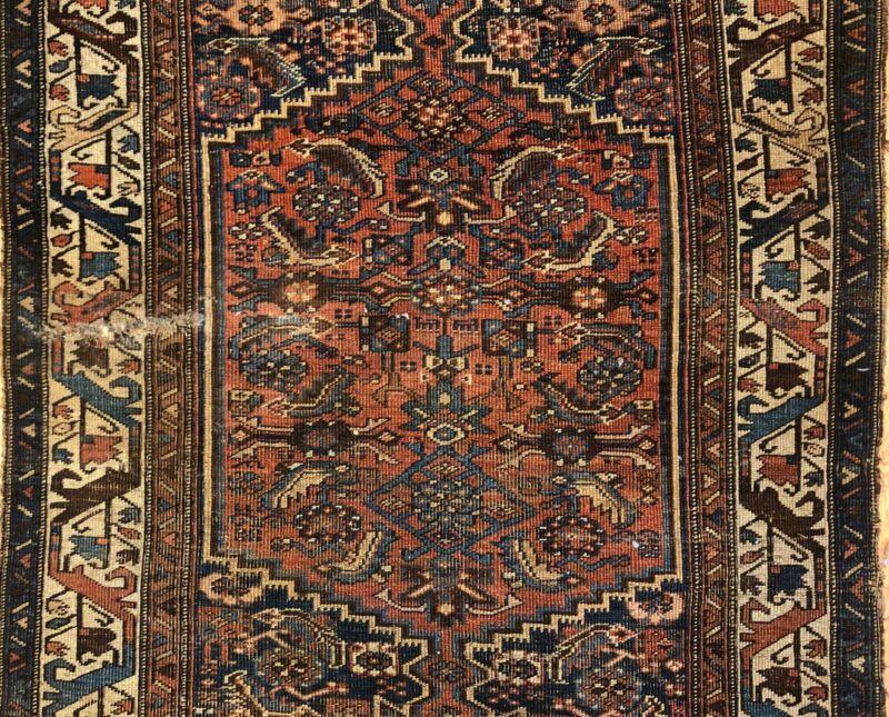 Tremendous Tribal - 1910s Antique Oriental Rug - Kurdish Carpet - 4.2 X 7.3