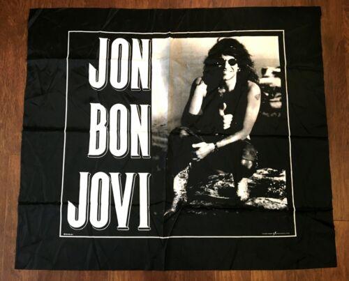 "Jon Bon Jovi Vintage Fabric Wall Hanging Tapestry 1990 80s 45"" x 39"" 80s 90s"