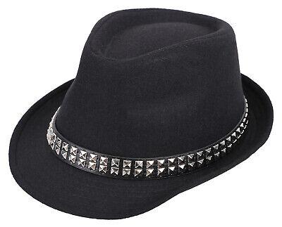 - Men/Women Fashion Short Brim Spike Studded Fedora Hat Panama Trilby Hat