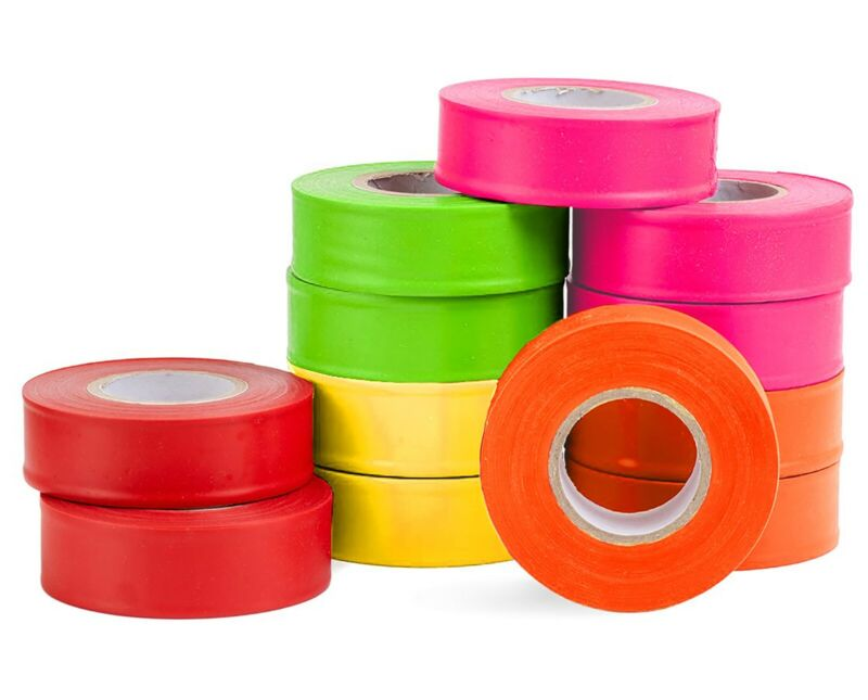 AdirPro 150 ft. x 1 in. Mixed Survey Construction Marking Flagging Tape 12 Pack