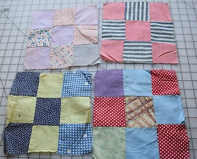 Large lot hand pieced 9-Patch quilt blocks; 121 vintage blocks 7 x 7; mid-century; sewn by grandmother; 1950-1980/'s fabric