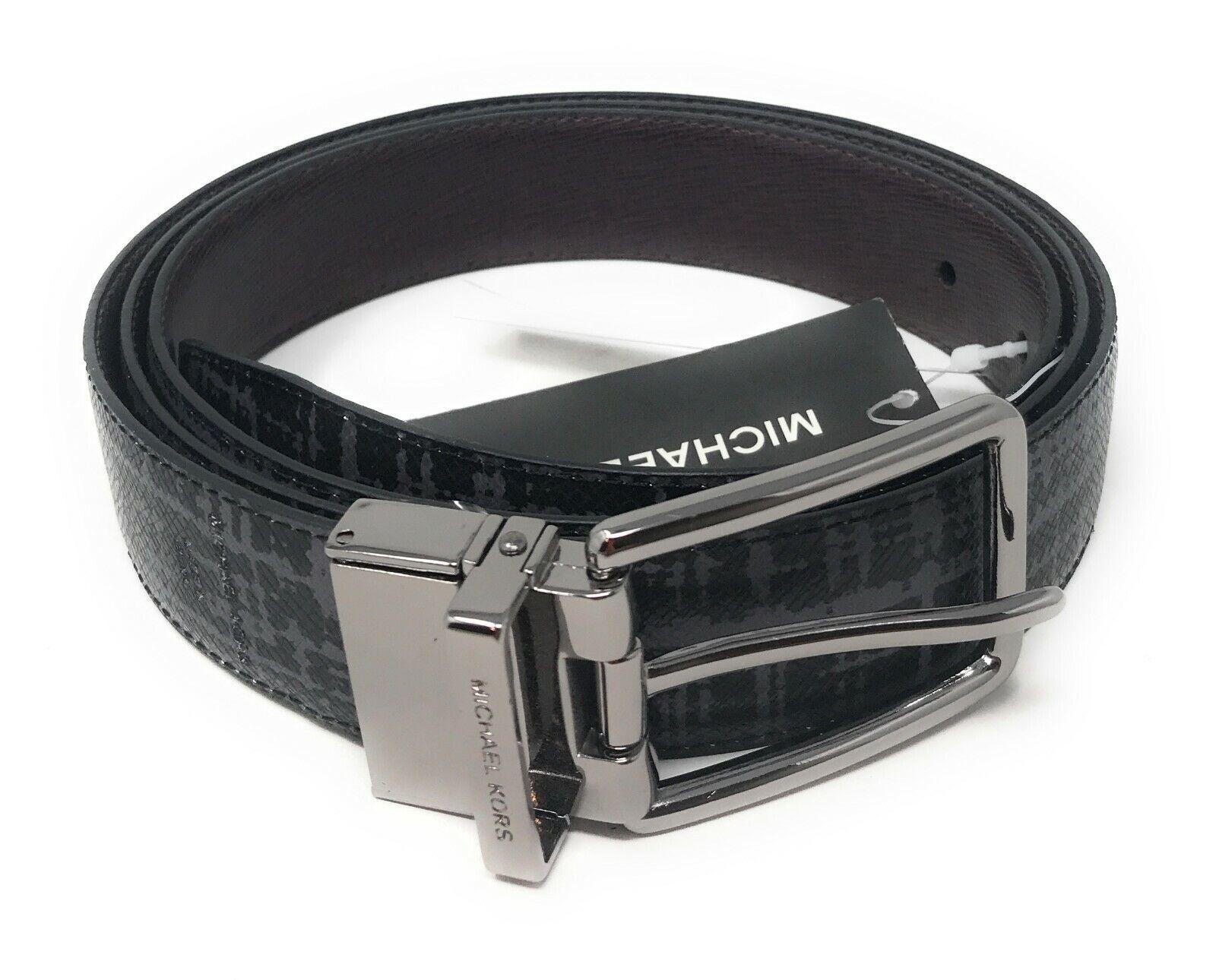 Michael Kors Men Cut to Size Reversible Dress Belt Leather Raisin Grey Belts