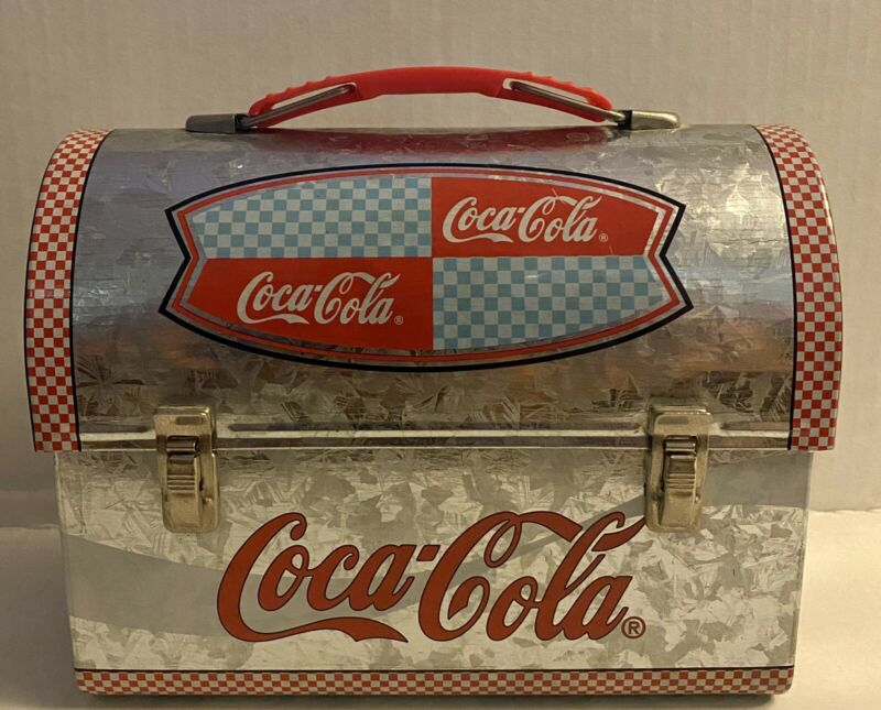 "Vintage 2001 Coca Cola Mini Lunchbox Metal Tin | Width 7"" Height 5.5"" Depth 3.5"""