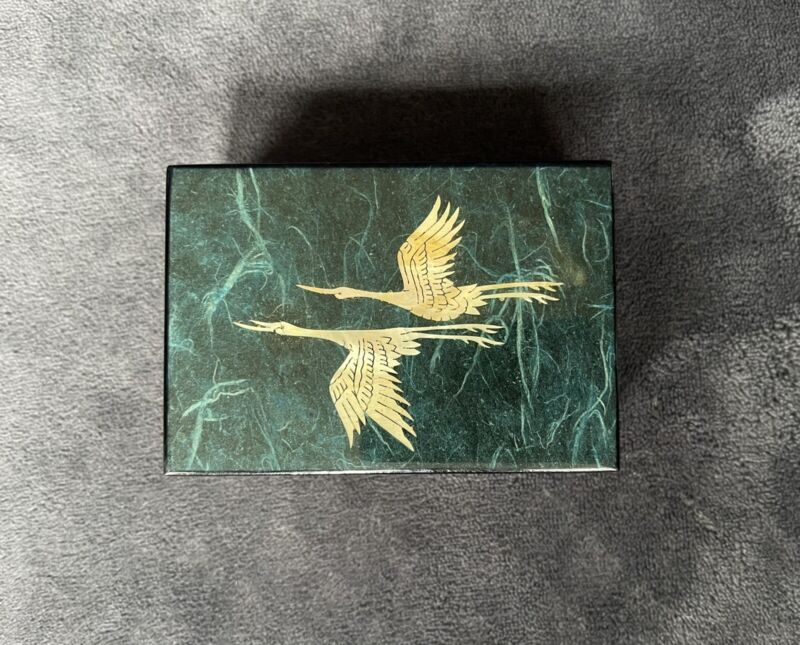 Vintage Korean Lacquer Mother of Pearl Velvet Inlay Business Card Holder