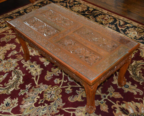Vintage Solid Teak Wood Hand Carved Center Coffee Table with Glass Top