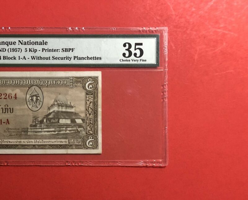 1957-LAOS-NATIONAL BANK -5 KIP NOTE ,GRADED BY PMG CHOICE VERY FINE 35.