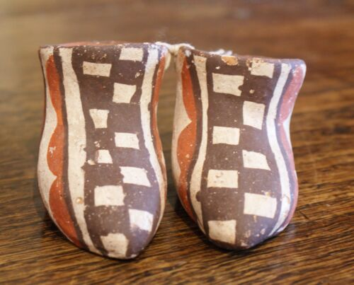 Isleta Pueblo Polychrome Decorated Pottery Pair of Moccasins Circa Early 1900