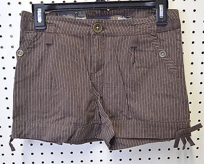 EPIC Threads Shorts Girls Girl SZ 14 Chocolate Brown Pinstripe Pocket Zip Front