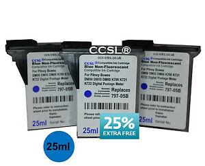 3 Pitney Bowes Blue Compatible Ink Cartridge DM50 DM55 DM60 K700 K721 Franking