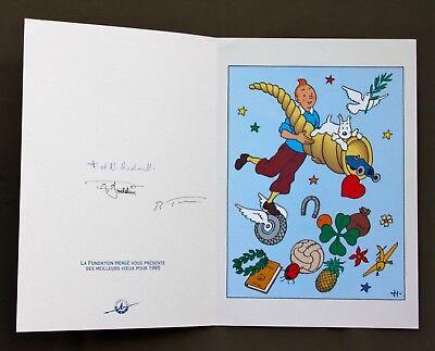 Tintin Carte de voeux - Foundation Hergé  SIGNE  F ET N RODWELL/GODDIN