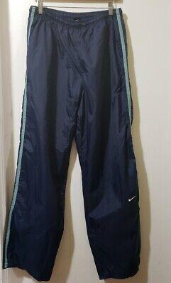 Nike Women Navy Blue Stripe Nylon Windbreaker Track Pants Size XL (16/18)