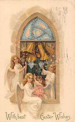 Angels Ringing Bells for Easter Religious Antique Postcard L1067