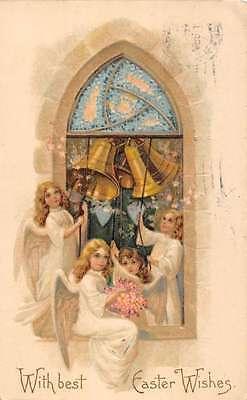 Angels Ringing Bells for Easter Religious Antique Postcard L1067