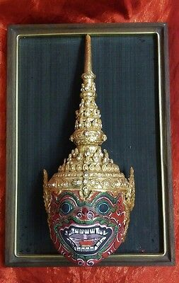 Vintage Carved Wood Thai Temple Guard Colorful Wall Mask Jeweled Hat Buddhist