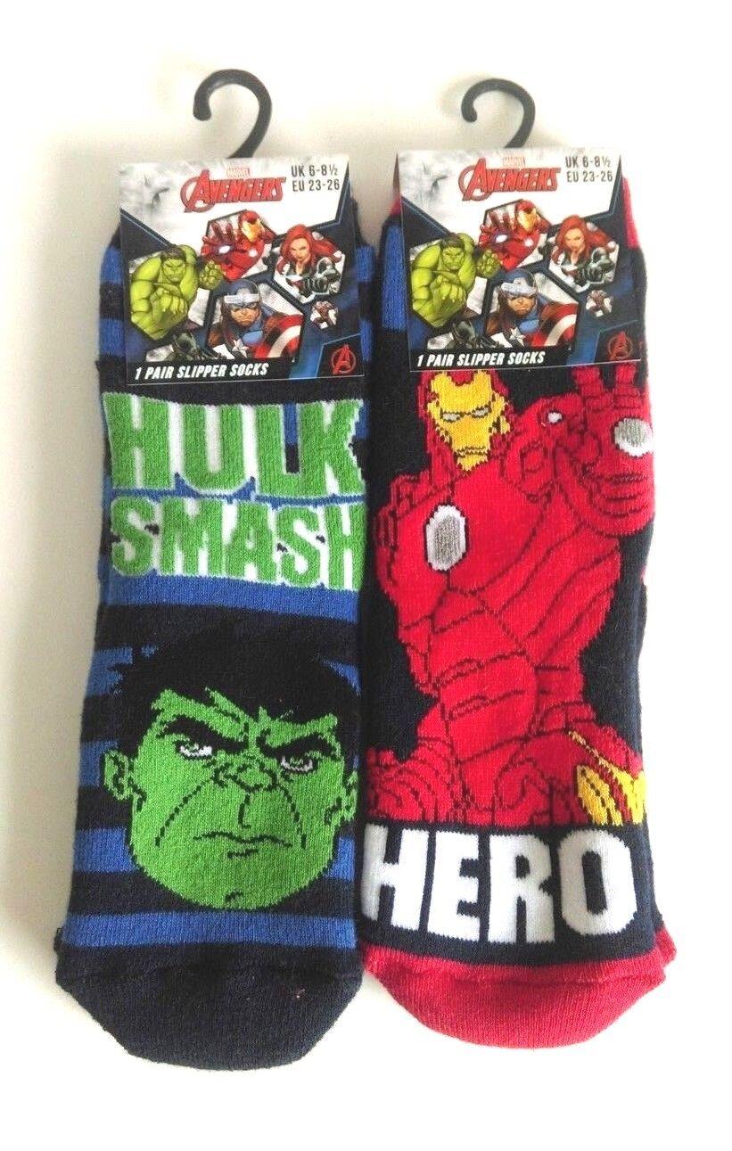 Boys Socks Ankle 2 Pairs Pack Marvel AVENGERS Ironman Hulk UK Shoe Sizes 6 to 2